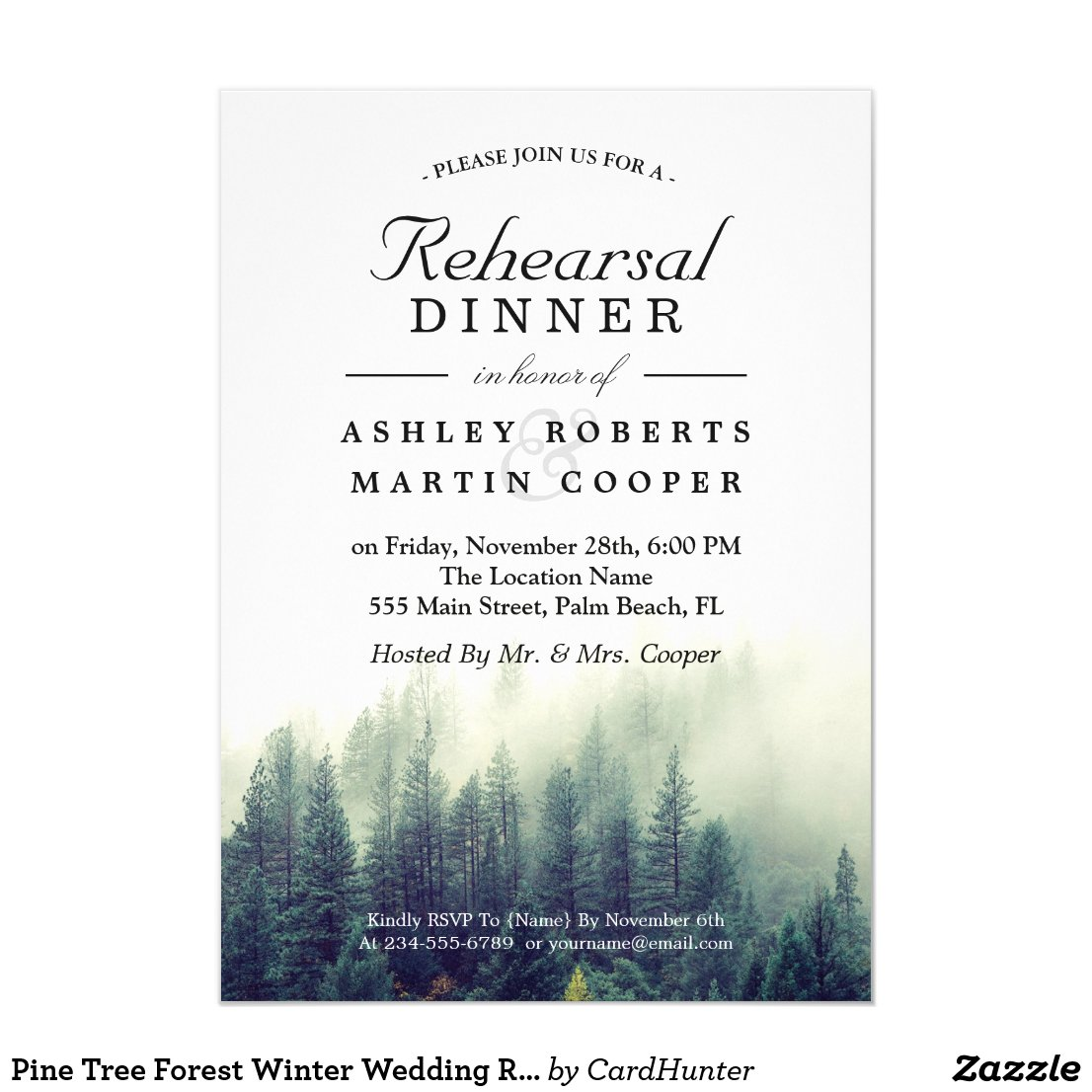 Pine Tree Forest Winter Wedding Rehearsal Dinner Invitation