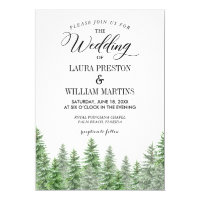 Pine Tree Greenery Wedding Invitation