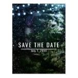 Pine Tree & Lights Winter Wedding Save the Date Postcard