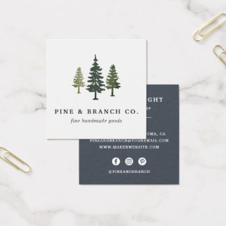 Pine Tree Logo Square Business Card