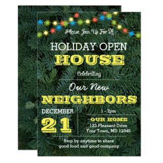 Pine Tree Multi Lights Yellow Holiday Invitation at Zazzle