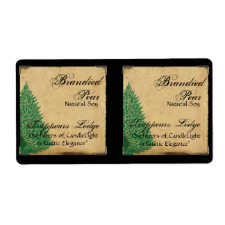Pine Tree on Parchment Candle Label