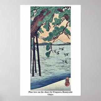 Pine tree on the shore by Utagawa, Kuniyoshi Ukiyo Print
