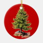 Pine Tree Print Red Christmas Tree Ornament Round Ceramic Ornament
