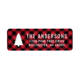 Pine Tree Return Address | Red Buffalo Plaid Label