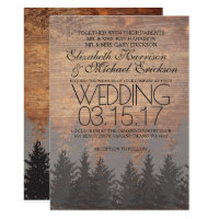 Pine Tree Rustic Wedding Invitation