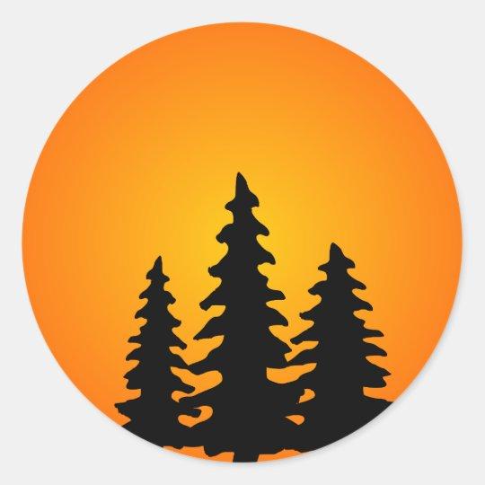 Pine Tree Silhouette Classic Round Sticker