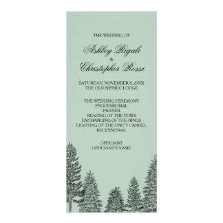 Pine Tree Wedding Program - Green Personalized Rack Card