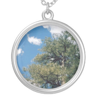 Pine Tree with Clouds Silver Plated Necklace