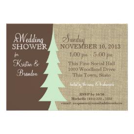 Pine Tree Woodland Bridal Shower Custom Invite