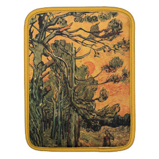 Pine Trees against a Red Sky and Setting Sun iPad Sleeve