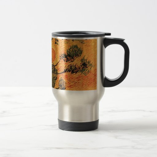 Pine Trees against a Red Sky with Setting Sun. 15 Oz Stainless Steel Travel Mug