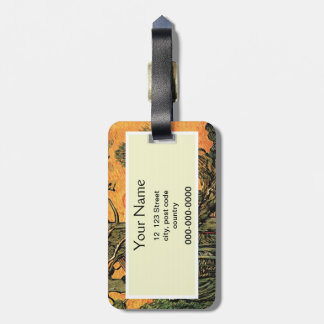 Pine Trees against a Red Sky with Setting Sun. Bag Tag
