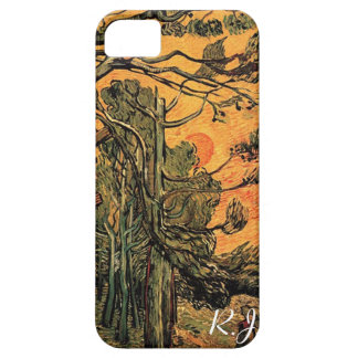 Pine Trees against a Red Sky with Setting Sun iPhone SE/5/5s Case