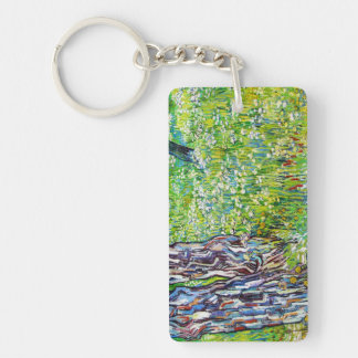 Pine Trees and Dandelions in the Garden Van Gogh Double-Sided Rectangular Acrylic Keychain