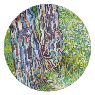Pine Trees and Dandelions in the Garden Van Gogh Melamine Plate