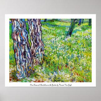 Pine Trees and Dandelions in the Garden Van Gogh Poster