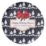 Pine Trees and Snow Happy Holiday Season Family Melamine Plate