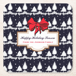 Pine Trees and Snow Happy Holiday Season Family Square Paper Coaster