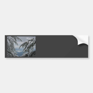 Pine Trees and Snow - Happy Holidays Car Bumper Sticker