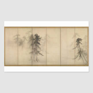 Pine Trees by Hasegawa Tohaku 16th Century Rectangular Sticker