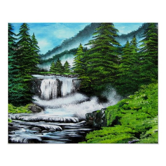 Pine Trees by Waterfall in Mountains Art by Galina Poster
