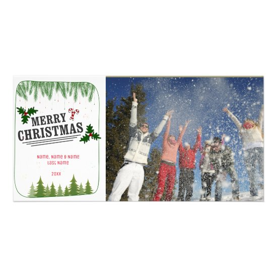 Pine Trees Christmas Greeting Photo Card