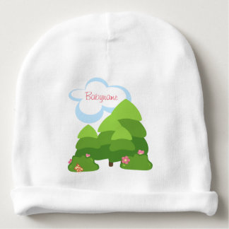 Pine Trees, Flowers & Clouds Forest Personalized Baby Beanie
