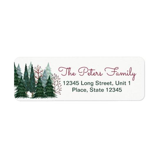 pine trees holiday christmas address labels zazzle com