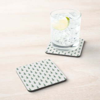Pine trees in winter drink coaster