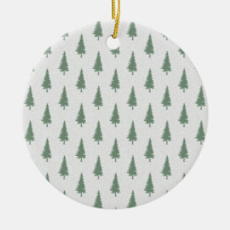 Pine trees in winter Double-Sided ceramic round christmas ornament