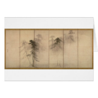 Pine Trees Left Hand Screen by Hasegawa Tohaku Greeting Card