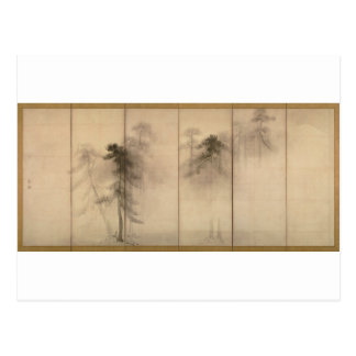 Pine Trees Left Hand Screen by Hasegawa Tohaku Postcard