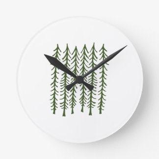 Pine Trees Round Clock