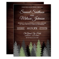 Pine Trees Rustic Wood Winter Wedding Invitation