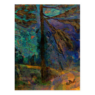 Pine Trees, Sunset, Trees in Sunset, Painted Trees Postcard