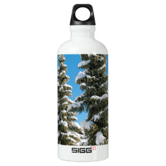 Pine trees under the Snow Aluminum Water Bottle