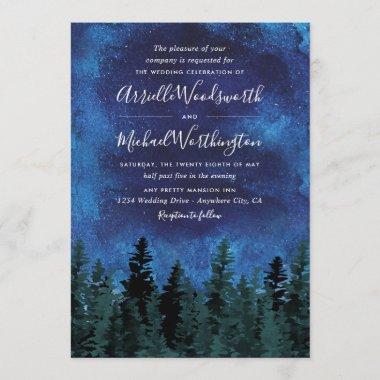 Pine Trees Watercolor Rustic Wedding Invitations