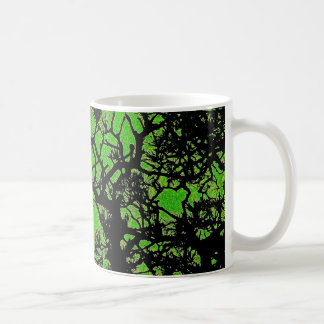Pine trees , with fresh green tea colors coffee mug