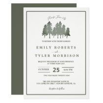 Pine Trees Woodland Forest Wedding Invite