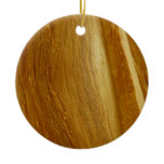 Pine Wood Design Double-Sided Ceramic Round Christmas Ornament