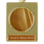 Pine Wood II Faux Wooden Texture Gold Plated Banner Ornament