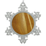 Pine Wood II Faux Wooden Texture Snowflake Pewter Christmas Ornament