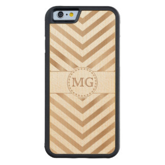 Pine Wood Stain Chevron Monogram iPhone Wood Case Carved® Maple iPhone 6 Bumper Case