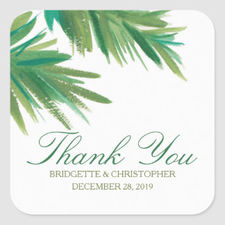 Pine Woods Watercolor | Wedding Thank You Square Sticker