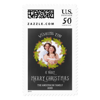 Pine Wreath ChalkBoard Holiday Photo Card Postage