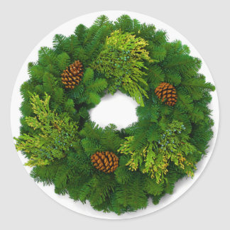 Pine Wreath Christmas Seal Stickers