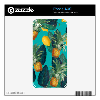 pineaple and lemons teal decals for iPhone 4S