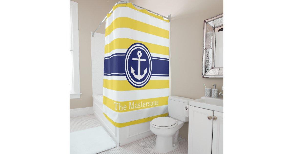 Pineapp Yellow Wt Navy Blue Nautical Stripe Anchor Shower Curtain Zazzle