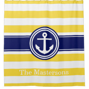 navy and yellow shower curtain. Pineapp Yellow Wt Navy Blue Nautical Stripe Anchor Shower Curtain And Curtains  Zazzle